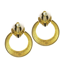 Load image into Gallery viewer, French Vintage Signed 'Givenchy' Goldtone - Black Enamel Earrings
