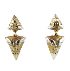 Vintage Circa 1950's Silver + Goldtone Inverted Triangle Earrings