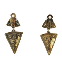 Load image into Gallery viewer, Vintage Circa 1950's Silver + Goldtone Inverted Triangle Earrings