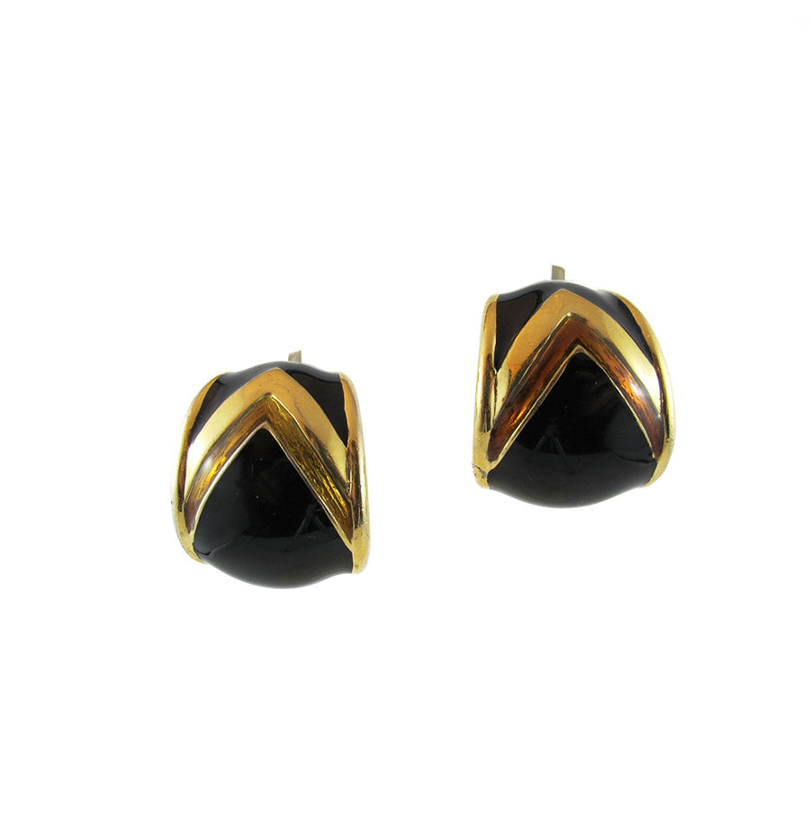 Vintage 1950's USA Signed 'Ciner' Curved Clip Earrings - Black - Gold