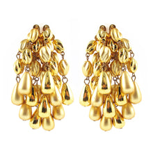 Load image into Gallery viewer, Vintage Gold Tone Statement Cluster Earrings c. 1980