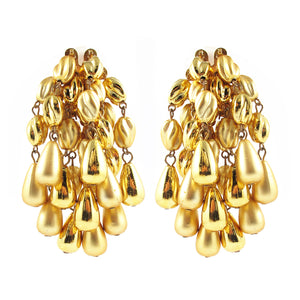 Vintage Gold Tone Statement Cluster Earrings c. 1980