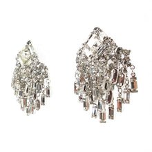 Load image into Gallery viewer, Vintage Art Deco Style Clear Crystal Rhinestone Cluster Earrings c. 1950