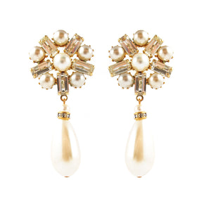 Harlequin Market Austrian Crystal and Faux Pearl Drop Earrings