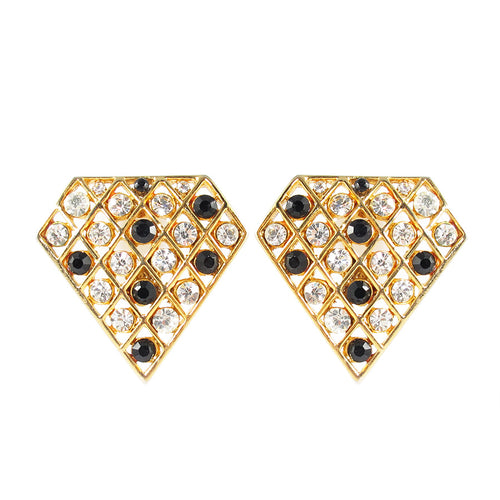 Vintage Gold Tone Earrings with Clear and Black Crystals c. 1970- ( Clip on Earrings)