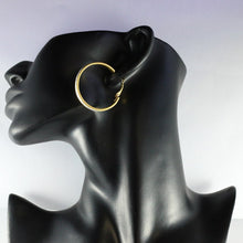 Load image into Gallery viewer, Vintage Gold Tone & Silver Glitter Hoop Earrings (Pierced)