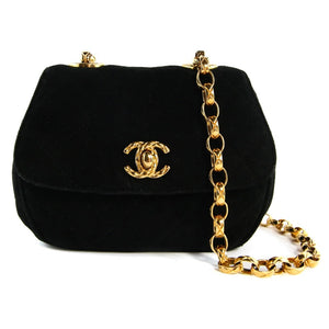 Chanel Vintage Black Evening Bag with Gold Chain
