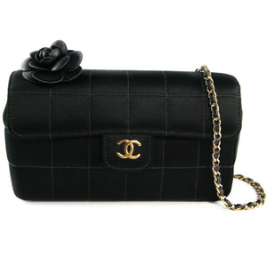 "Chanel Vintage Black Satin Camellia Evening Bag with 24"" Gold Chain Strap c. 2000s"