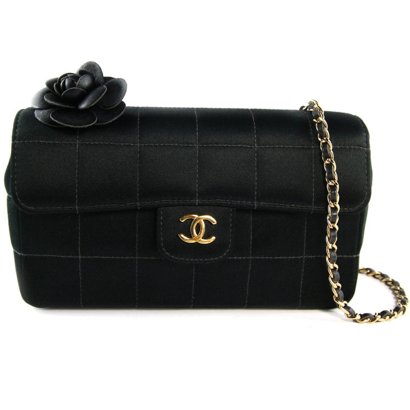 Chanel Vintage Black Satin Camellia Evening Bag with 24
