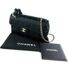 "Load image into Gallery viewer, Chanel Vintage Black Satin Camellia Evening Bag with 24"" Gold Chain Strap c. 2000s"