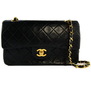 "Chanel Vintage Black Leather Double Flap Classic 9"" Bag with Gold Hardware c. 1990"