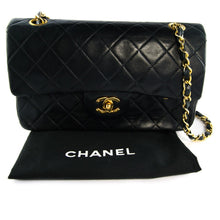 "Load image into Gallery viewer, Chanel Vintage Black Leather Double Flap Classic 9"" Bag with Gold Hardware c. 1990"