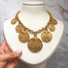 Load image into Gallery viewer, Chanel Vintage Gold Medallion Coat of Arms Crest Lion Necklace c. 1970