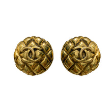 Load image into Gallery viewer, Chanel Vintage Gold Tone & Quilted 'CC' Earrings c.1980s (Clip-On)
