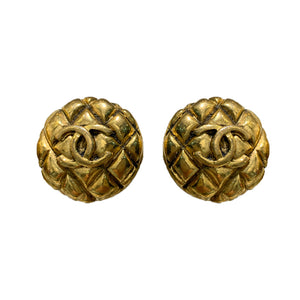 Chanel Vintage Gold Tone & Quilted 'CC' Earrings c.1980s (Clip-On)