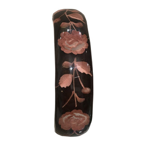 Vintage Hand Carved Back Painted Lucite Burgundy Rose Cuff c.1950s