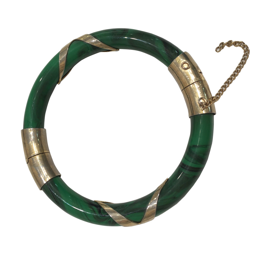 Marble Effect Green & Gold Criss Cross Thin Vintage Clamper Bangle