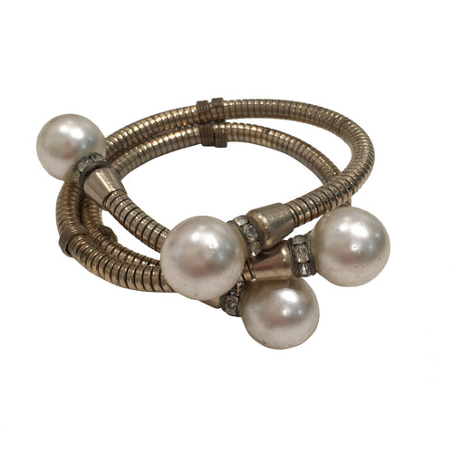 Vintage Unsigned Multi Coil Pearl Cuff Bangle c.1980s