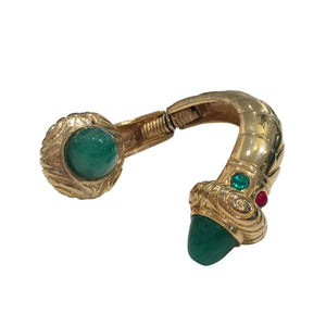 Unsigned Vintage Statement Gold & Green Cuff c.1980s