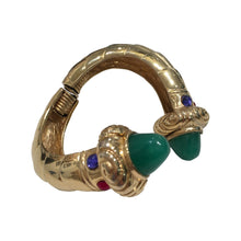 Load image into Gallery viewer, Unsigned Vintage Statement Gold & Green Cuff c.1980s