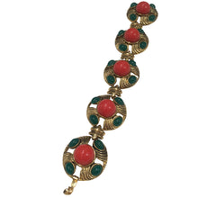 Load image into Gallery viewer, Emerald & Coral Unsigned Vintage Bracelet c.1970s