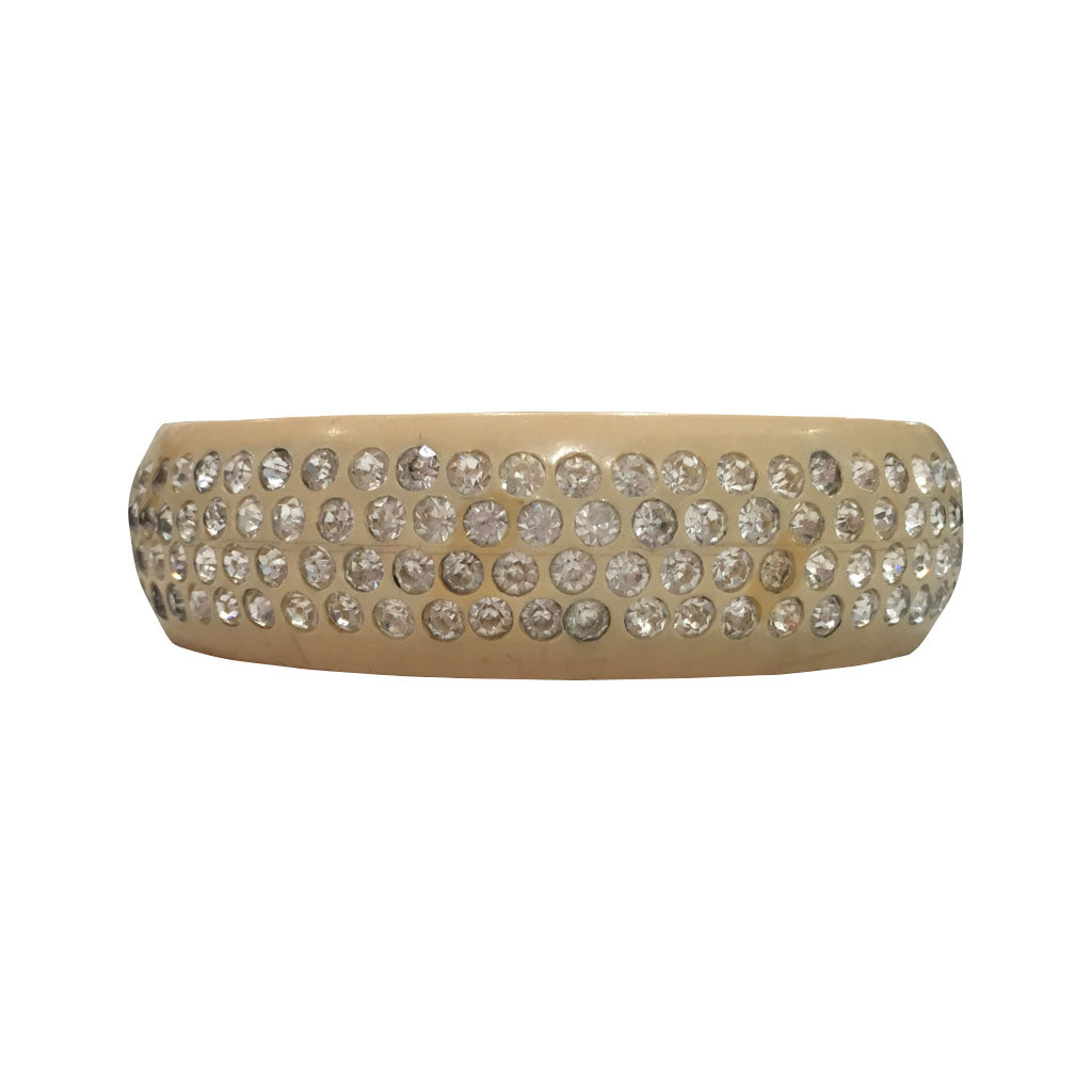 Large Rare Celluloid Four Row Encrusted Clear Crystal Bangle c.1930s