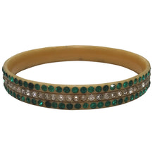 Load image into Gallery viewer, Rare Vintage Green & Clear Crystal Encrusted Celluloid Bangle c.1930s