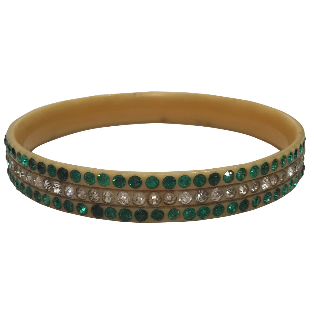 Rare Vintage Green & Clear Crystal Encrusted Celluloid Bangle c.1930s