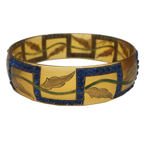 Extremely Rare Celluloid Blue Encrusted & Hand Painted Leaf Design Bangle c.1930s
