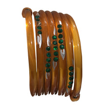 Load image into Gallery viewer, Extremely Rare Celluloid Snake Emerald Crystal & Hand Painted Cuff c.1930s