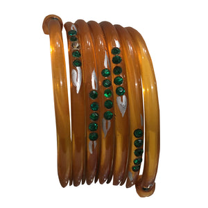 Extremely Rare Celluloid Snake Emerald Crystal & Hand Painted Cuff c.1930s