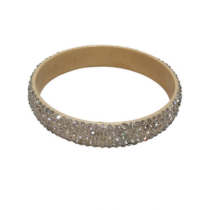 Rare Celluloid Thin Bangle Five Row Encrusted Clear Crystals c.1930s