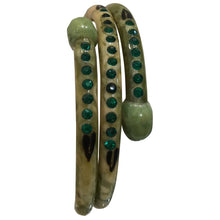 Load image into Gallery viewer, Vintage Green Crystal Encrusted Snake Bangle Marble Effect & Hand Painted c.1960s