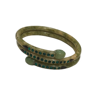 Vintage Green Crystal Encrusted Snake Bangle Marble Effect & Hand Painted c.1960s