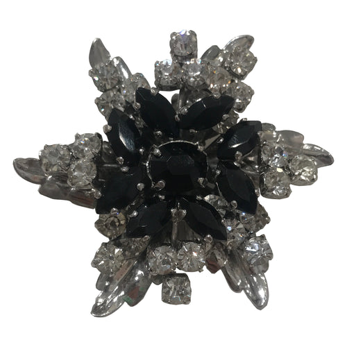Unsigned Vintage Daisy Black & Clear Crystal Brooch
