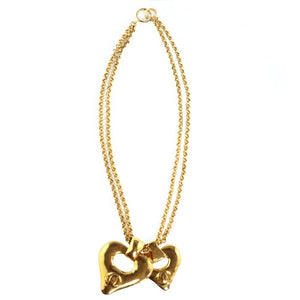Chanel Vintage Signed Double Heart, Double Chain Pendant Necklace 1993