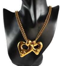 Load image into Gallery viewer, Chanel Vintage Signed Double Heart, Double Chain Pendant Necklace 1993
