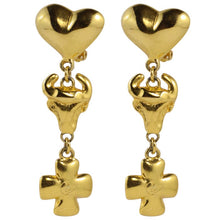 Load image into Gallery viewer, Christian Lacroix Signed Vintage Gold Tone Iconic Heart, Cross Earrings c. 1990 (Clip-On)
