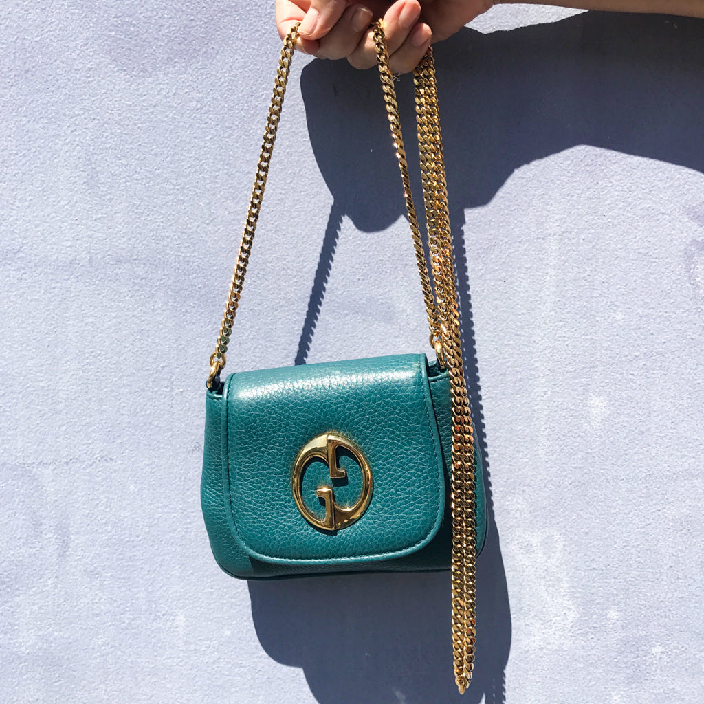 Gucci Pebbled Calfskin Small '1973' Chain Shoulder Bag Teal