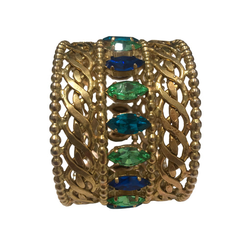 Dominique Aurientis Signed Vintage Intricate Gold Tone & Blue-Green Crystal Cuff