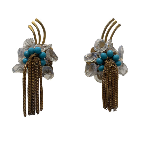 Vintage Unsigned Rousselet Tassel, Aqua Blue Cabochon & Lucite Fleck (Clip-On) Earrings