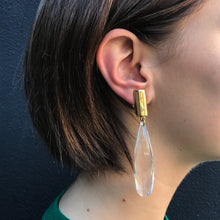 Load image into Gallery viewer, Rectangular Gold Tone & Clear Lucite Drop Clip-On Earrings c.1970s