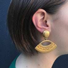 Load image into Gallery viewer, Matte Gold Tone Revival Inspired Trapezium Drop Clip-On Earrings c.1960s