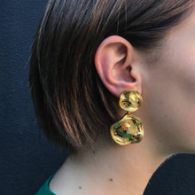 Load image into Gallery viewer, Polished Gold Tone Sculpted Drop Clip-On Earrings c.1980s