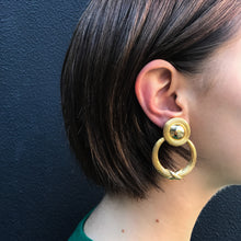 Load image into Gallery viewer, Gold Tone Double Sketchy Vintage Hoop Clip-On Earrings c.1980s