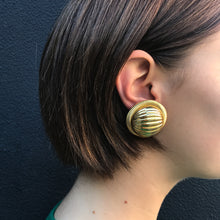 Load image into Gallery viewer, Large Vintage Gold Tone Circular Disc Clip-On Earrings c.1980s