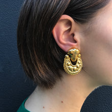 Load image into Gallery viewer, Polished Gold Tone Textured & Patterned Door Knocker Inspired Clip-On Earrings c.1980s