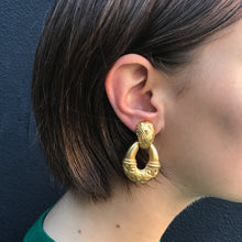 Load image into Gallery viewer, Revival Inspired Vintage Matte Gold Tone Engraved Clip-On Earrings c.1960s