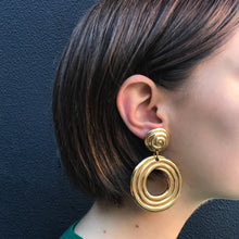 Load image into Gallery viewer, Swirly Painterly Vintage Hoop c.1970s Pierced Earrings