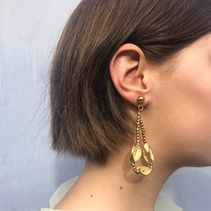 Unique Vintage Mobile and Adjustable Beaded Gold Tone Drop Hoop Earrings c.1980s (Clip-On Earrings)